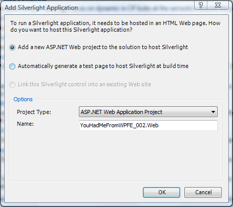 Add Silverlight Application